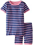 Hatley Little Girls' Striped Short Pajama Set with Contrast Cuffs