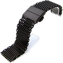 "24mm Retro Ploprof Flatten ""SHARK"" Mesh Watch Band Deployment Strap PVD Black, BB"