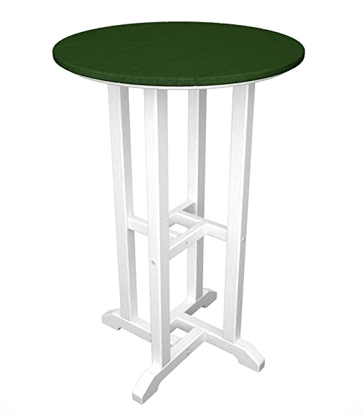 POLYWOOD RRT224FWHGR Contempo 24-Inch Round Counter Height Table, White Frame, Green