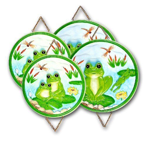 BRAND NEW Set of four (4) Frog Stove / Burner Covers. This is a very beautiful set with lots of color and lots of detail! The 3-