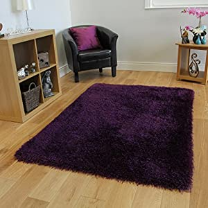 Rich Purple Dense Pile Thin Strand Plain Shaggy Rugs 7 Sizes- Memphis by The Rug House