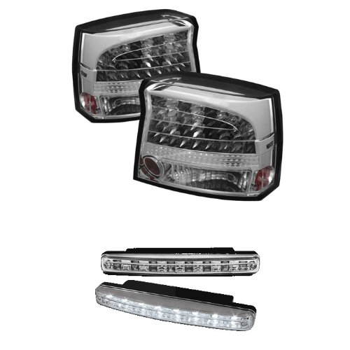 Carpart4U Dodge Charger Led Chrome Tail Lights & Led Day Time Running Light Package
