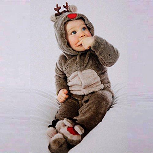 FEITONG Newborn Baby Girl Boy Deer Romper Footies Winter Warm Outwear (12 Months)