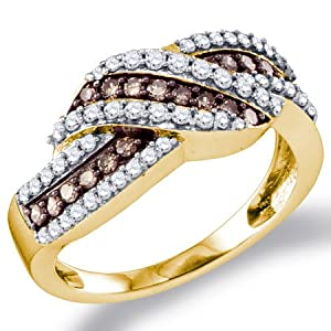Chocolate Brown Diamond Ring Fashion Band 10k Yellow Gold (3/4 ct.tw.), size 7