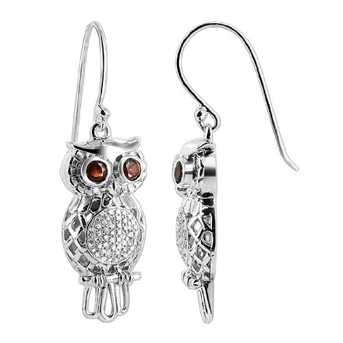 UCES001 Sterling Silver 3mm Round Garnet Cubic Zirconia Owl 12mm wide Earrings