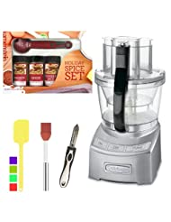 Cuisinart FP-12DC Elite Collection 12-cup Food Processor + Kamenstein Mini Measuring Spoons Spice Set + Silicone Spatula + Accessory Kit by Cuisinart