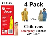 4-VAS-Childrens-40-X-60-Emergency-Child-Kid-Rain-Poncho-CLEAR