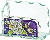 Joan Baker Designs Gardenias Art Glass Business Card Holder