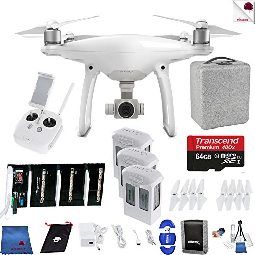 DJI Phantom 4 Ready For Liftoff Bundle Includes: DJI Phantom 4 Drone + 3 Batteries (total) +Charger + 64 GB Memory Card + Controller + Foam Case + More