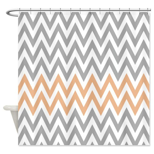 Gray and pale orange chevrons Shower