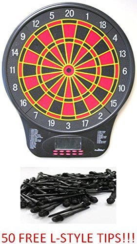 Free 50 Ct. L-Style Tips - Arachnid Cricketmaster 340 Electronic Soft Tip Dart Board - Dart Brokers