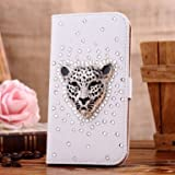 Neekor(TM) Samsung Galaxy Note 2 Note II N7100 Bling Diamond Folio Leather Beautiful Case Cover With Card Holder & Magnetic Flip Horizontals - Britain Silvery Leopard