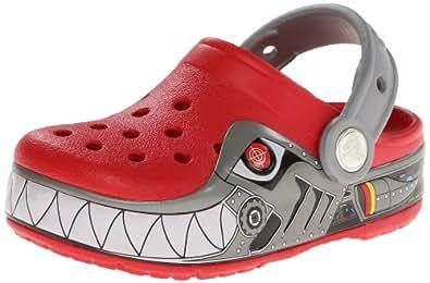 Crocs CrocsLights Robo Shark, Unisex-Child Clogs, Red (Red/Silver), 8 UK Child