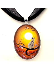 Golden Glow Cherry Blossoms Siamese Cat Handmade Jewelry Fine Art Pendant