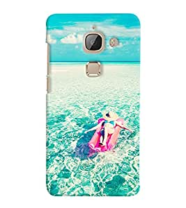 Printvisa Girl Relaxing With The Oceanic Waves Back Case Cover for LeEco Le Max 2::Le TV Max2