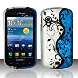 Blue/Silver Vines Design Snap On Protector Hard Case for Samsung Stratosphere i405 + 4.5 inches Screen/Lens Cleaning Cloth