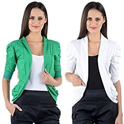 Green & White Cotton Gathering Sleeve Regular Fit Shrugs (Combo Set of 2)