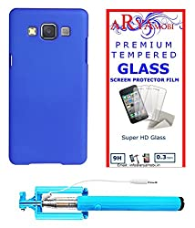AryaMobi Hard Back Case Cover for Samsung Galaxy J3 - Blue,Tempered Glass, Selfie Stick Aux Port