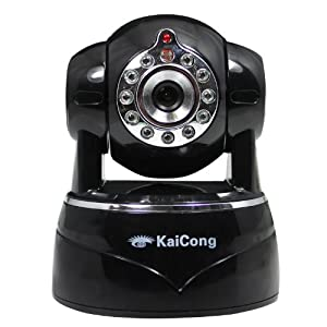 KaiCong Sip1201 Megapixel HD 1280 x 720p H.264 Wireless/Wired Pan/Tilt IP Camera with IR-Cut Filter - 26ft Night Vision and 3.6mm Lens (70° Viewing Angle) - Black