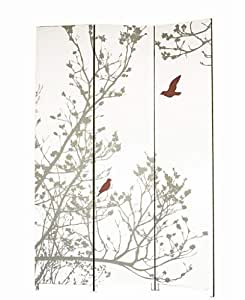 nexxt Bota Triple-Panel Floor Screen, Red and Taupe Branches and Bird Design