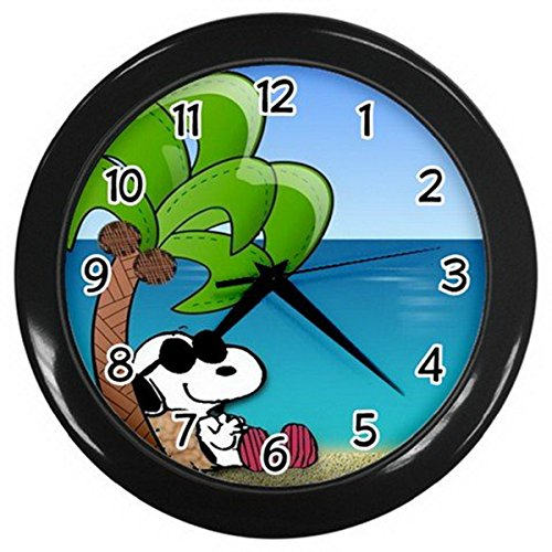 [Snoopy Relaxing Under a Coconut Tree Wall Clock] (Red Baron Baby Costume)
