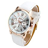 Top Plaza Fashion Women's Analog Watch, PU Leather Band Rose Gold Tone - White