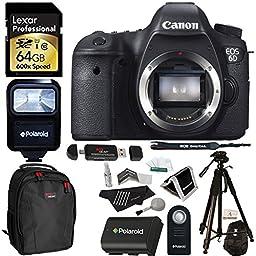 Canon EOS 6D 20.2 MP CMOS Digital SLR Camera Body + Lexar 64GB Memory Card + Ritz Gear Bag + Polaroid 72\
