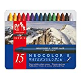 Caran d'Ache Classic Neocolor II Water-Soluble Pastels, 15 Colors (Color: multi, Tamaño: set of 15)