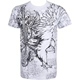 Eagle,Sword and Chains Metallic Silver Embossed Short Sleeve Crew Neck Cotton Mens Fashion T-Shirt ( 2 Colors )