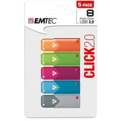 Emtec 8GB Click USB Flash Drive, 5-Pack (ECMMD8GB102P5)