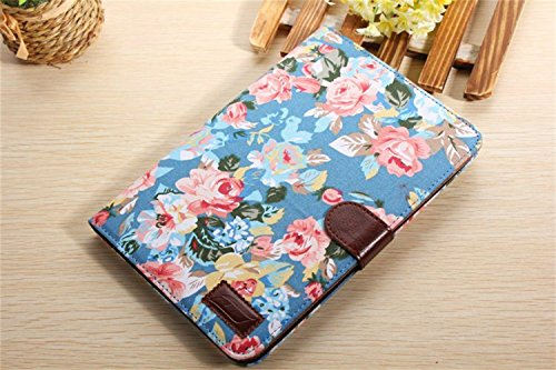 Ipad Mini Case, Ipad Mini 2/3 Borch Fashion Luxury Multi-Function Protective Floral Series Light-Weight Folding Flip Smart Case Cover For Apple Ipad Mini, Ipad Mini 2 & 3 (Sky Blue)