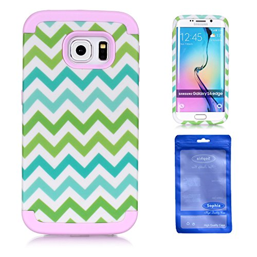 S6 Edge Case, Sophia Shop 3 in 1 Colorful Wave Patterned Hybrid High Impact Hard PC Case And Soft Silicone Triple Layer Protective Shockproof Anti-Scratch Cover For Samsung Galaxy S6 Edge (Baby Pink)