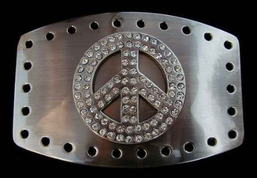 Chrome Peace Sign With Rhinestones Belt Buckle