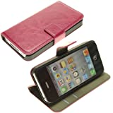 Topideal Crazy Horse Grain Leather Wallet Flip Case Cover with Credit Card Slots & Holder for Apple iphone4 4S(Color: Hot Pink)
