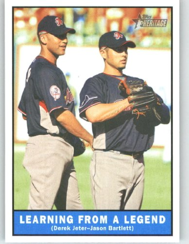 2010 Topps Heritage Baseball Card # 451 Derek Jeter / Jason Bartlett (Learning from a Legend / Short Print) New York Yankees - Mint Condition - MLB Trading Card Shipped In Protective ScrewDown Display Case!