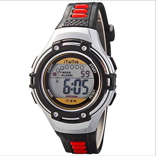 Fashionable Kids' Watches 30M Waterproof Led Digital Sports Watch: Pink, White, Black