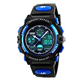 Kids Sports Digital Watch, Boys Girls Outdoor Waterproof Watches Children Analog Quartz Wrist watch with Alarm - Blue