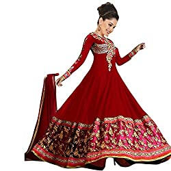 INDIA FASHION SHOP RED PINK GOLD EMBROIDERED GEORGETTE DRESS