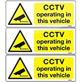 Pack of 3 CCTV camera in vehicle adhesive vinyl stickers 8x3cm car taxi bus sign decals