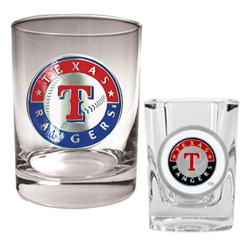MLB Texas Rangers Rocks Glass & Square Shot Glass Set - Primary Logo at Amazon.com