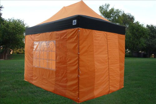 10X15 Pop Up 4 Wall Canopy Party Tent Gazebo Ez Black Orange F Model - Upgraded Frame By Delta Canopies