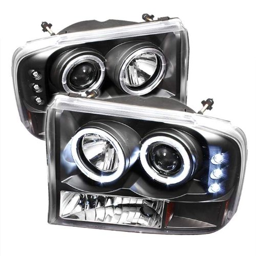 1999 2000 2001 2002 2003 2004 Ford F250/F350 Super Duty / 2000 2001 2002 2003 2004 Ford Excursion 1PC Dual Halo LED (Replaceable LEDs) Projector Headlights G2 Version - Black