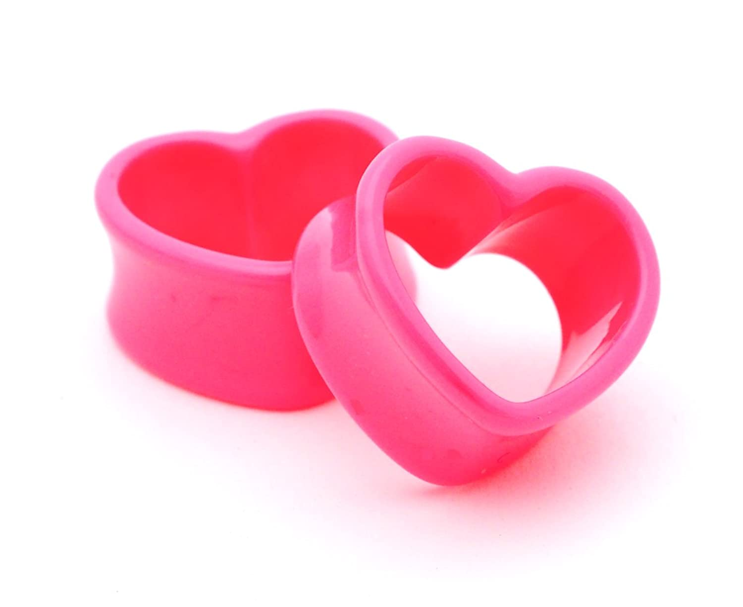 Pink Acrylic Heart Tunnels - 5/8 - 16mm - Sold As a Pair the tunnels