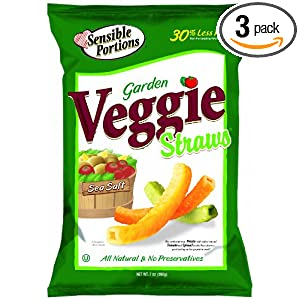 Sensible Portions Veggie Straws Original Sea Salt, 20 Ounce Bags (Pack of 3)