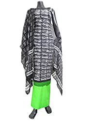 GiftPiper Unstitched Bagru Print Cotton Suit- Black&Green