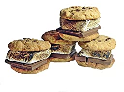 Gourmet Cookies Gift Basket S\'mores Cookie Marshmallow Roasting Fresh Baked Sandwich Graham Cracker Chocolate Already Made. Pack of 4, Snack, Outdoor Cooking Campfire S\'mores - Baby g\'s Cookies