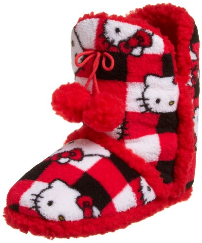 Hello Kitty Women's Short Bootie, Check w/Red Trim, Large (9-10)