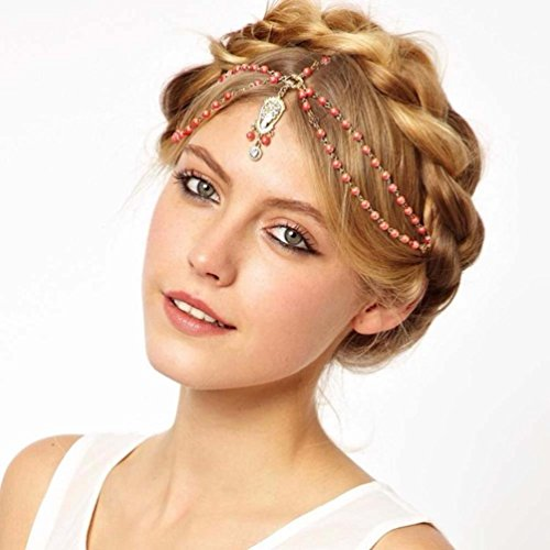 LUNIWEI Pearl Tassel Flower Stretch Headband Hair Band Crystal Hair Ch... (Ch Red Women compare prices)
