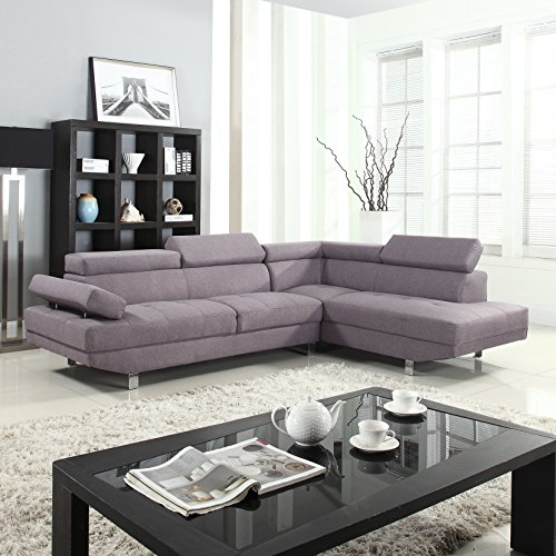 Modern contemporary linen sectional sofa with adjustable for Canape d angle tissu noir