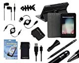 Bundle Monster 12in1 Case, Wall + Car Charger, USB/AUX Cables, Stereo Handsfree Earbuds, 2in1 Stylus Pen, Screen Protector Accessory Set for Google Nexus 7 Tablet, COLOR: CHARCOAL BLACK